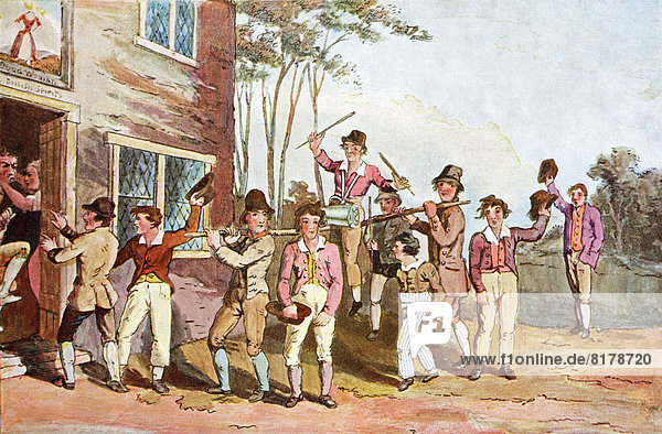 Riding The Stang. An Old Yorkshire Custom Used By A Community To Express Displeasure At Transgressions Such As Wife Beating. A Neighbour Resembling The Guilty Party Would Be Mounted On A Pole  Or Ladder  On Men's Shoulders And Paraded Before Their House  Making Rough Music Or Any Discordant Noise Using Pots And Pans. From Picturesque History Of Yorkshire  Published C.1900.
