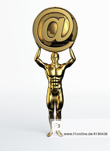 Goldene Statue eines Mannes mit Weltkugel und at-Symbol