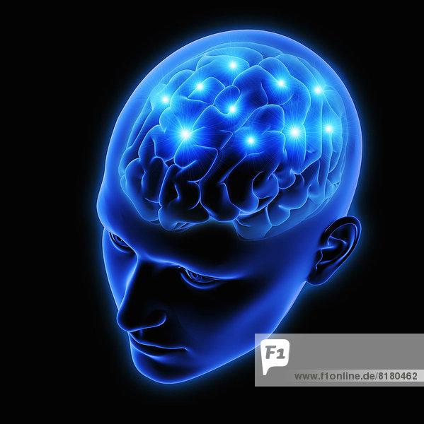 Funken in menschlichem Gehirn in blauem durchsichtigem Kopf