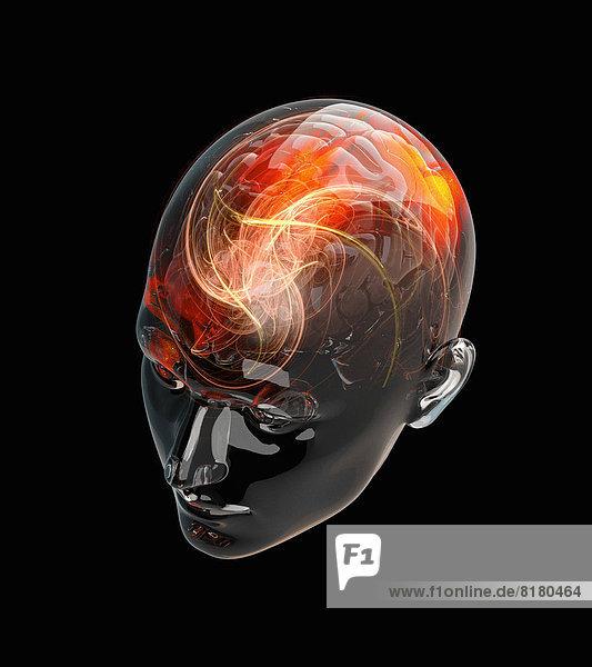 Beleuchtete Aktivität in menschlichem Gehirn in durchsichtigem Kopf