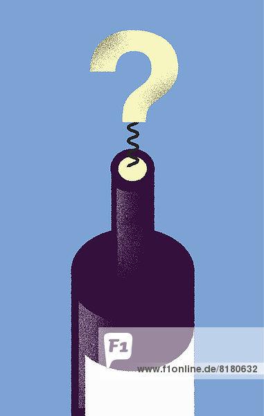 Korkenzieher in Form eines Fragezeichens in Weinflasche Korkenzieher in Form eines Fragezeichens in Weinflasche