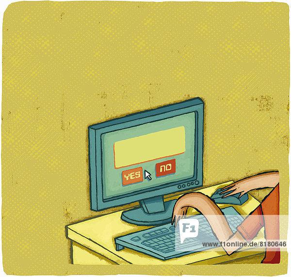 Mann benutzt einen Computer mit Yes und No