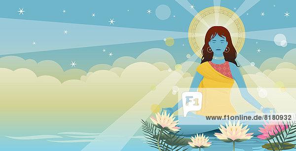 Sonnenstrahlen und Lotusblumen umgeben meditierende Frau im Lotussitz