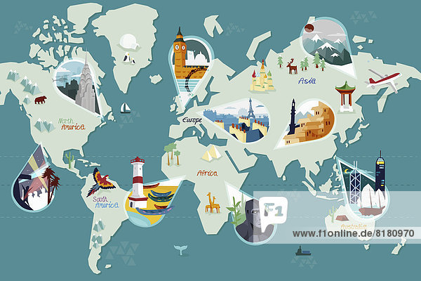 Touristenattraktionen auf einer Weltkarte Touristenattraktionen auf einer Weltkarte