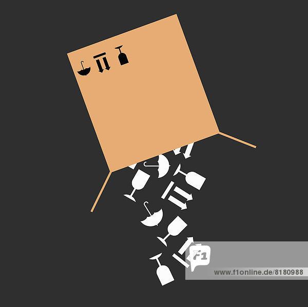 Zerbrechliche Gegenstände fallen aus einem Pappkarton