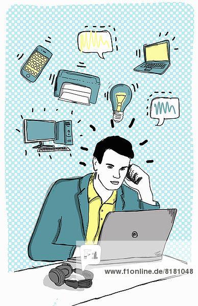 Handy benutzen Computer Kommunikation Notebook Geschäftsmann Gerät