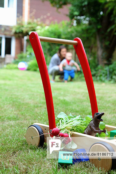 Mother and child with push cart and toys in garden
