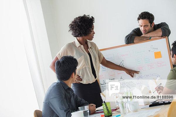 Kollegen diskutieren Ideen im Büro