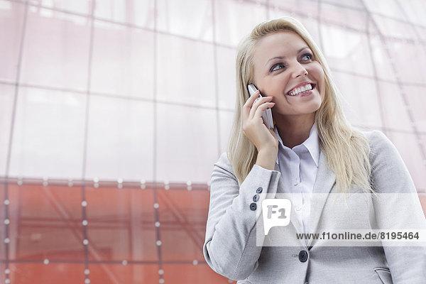 benutzen  Geschäftsfrau  Fröhlichkeit  Gebäude  Telefon  Büro  jung  Handy
