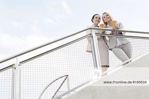 niedrig  stehend  Geschäftsfrau  Tasse  Himmel  halten  Ansicht  jung  Flachwinkelansicht  Kaffee  Geländer  Winkel  Wegwerfartikel