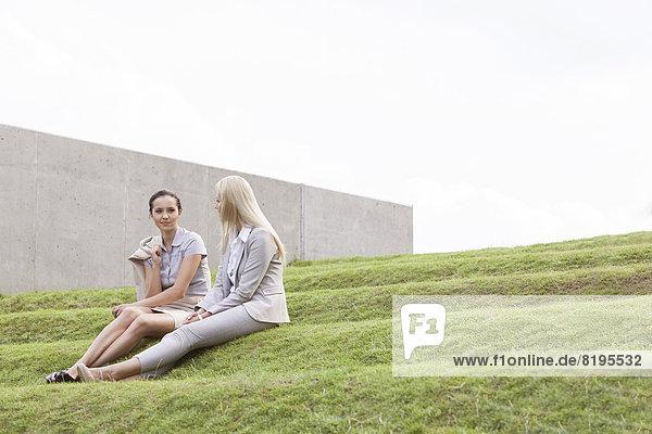 Stufe  sitzend  Geschäftsfrau  Himmel  Länge  Gras  voll