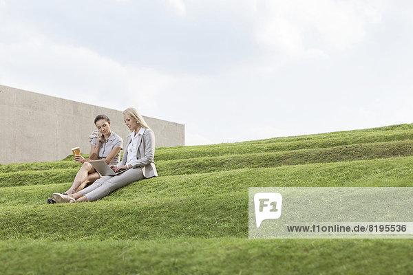 Stufe  sitzend  Tasse  Notebook  Himmel  Kaffee  Länge  Wirtschaftsperson  Gras  Business  Wegwerfartikel  voll