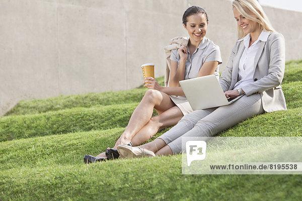 Stufe  sitzend  Geschäftsfrau  Fröhlichkeit  sehen  Notebook  Wand  Länge  Gras  voll