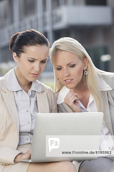 Außenaufnahme  sitzend  Zusammenhalt  Geschäftsfrau  Notebook  arbeiten  jung  freie Natur