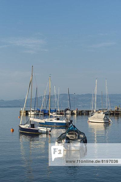 Deutschland  Wasserburg  Blick auf Parkboote im Hafen
