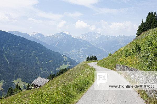 Österreich  Blick auf die Bergstraße im Montafon