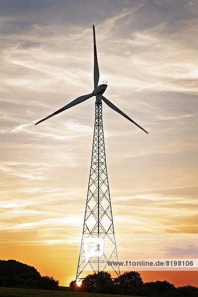 Deutschland  Niedersachsen  Gesold  Windrad bei Sonnenuntergang