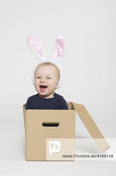 Kleiner Junge mit Kaninchenohren und in der Box sitzend  lächelnd