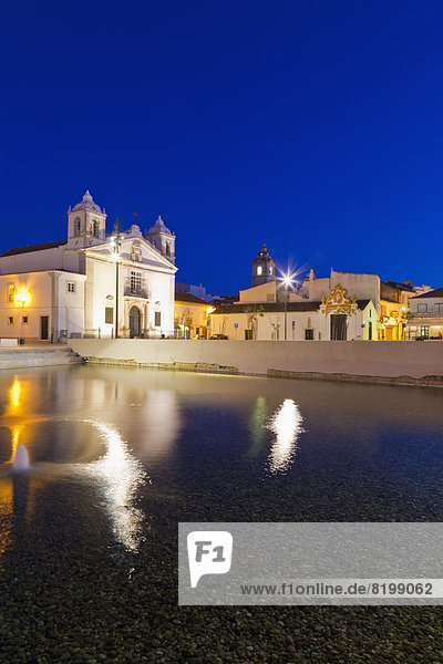 Portugal  Lagos  View of Santa Maria church at night