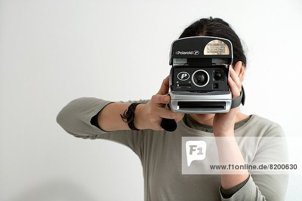 Portrait  Fotografie  nehmen  jung  Mädchen  Polaroid