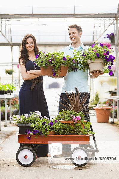 Europäer tragen Blume Pflanze Topfpflanze Treibhaus