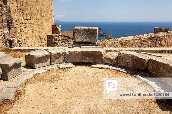 Votive Semicircular Exedra of the Priest Pasiphon  Son of Epilykos  the Acropolis  Lindos  Rhodes  Greece.