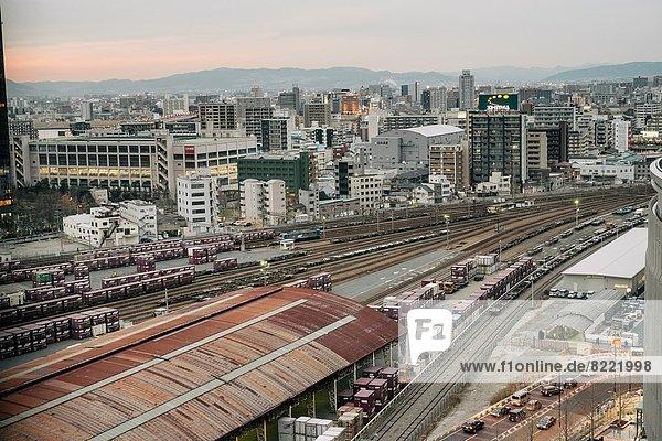 Abend  verschiffen  Ansicht  Container  Fracht  Japan  Osaka