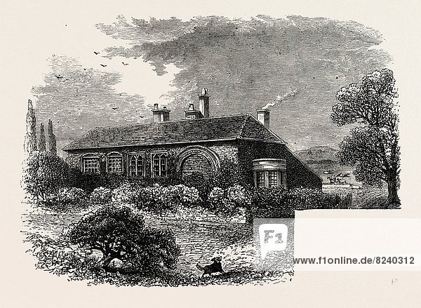 BREWSTER'S HOUSE AT SCROOBY  NOTTS.  1870s engraving