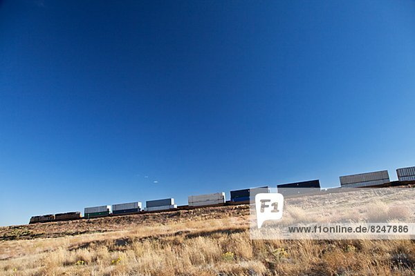 Low angle view of freight train