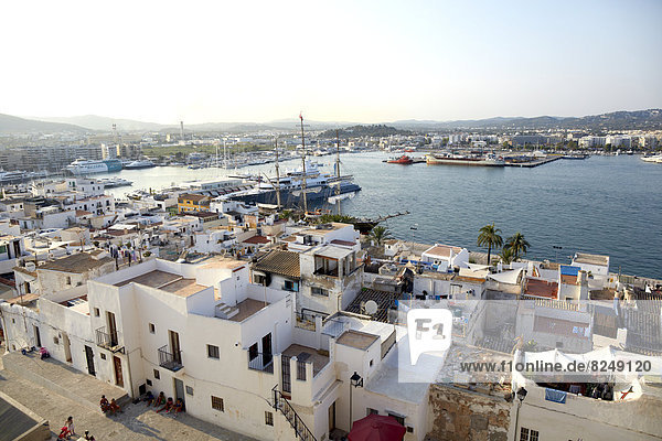Spain  View of town near harbour of Ibiza