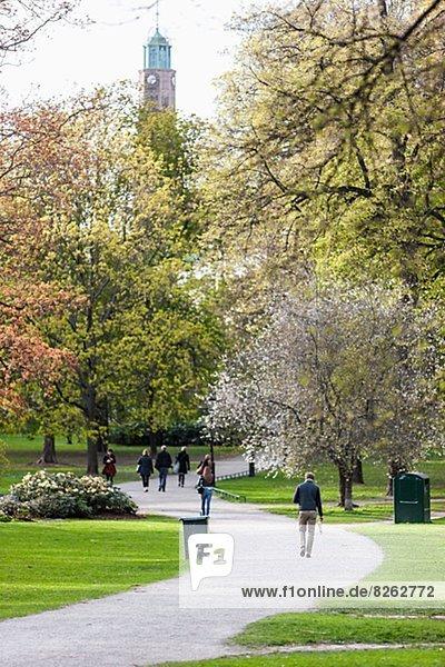 Menschen zu Fuß durch den park