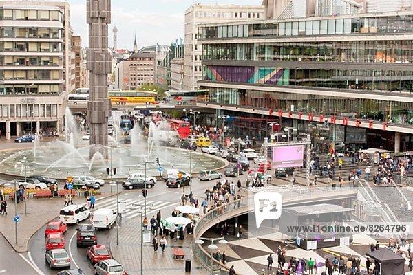hoch  oben  Stockholm  Hauptstadt  Ansicht  Flachwinkelansicht  Winkel  Straßenverkehr