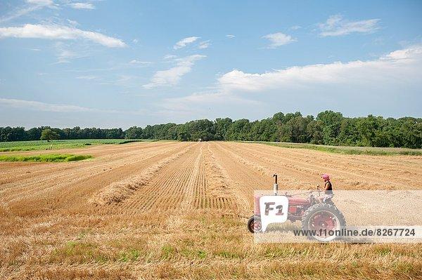 Vereinigte Staaten von Amerika  USA  Frau  fahren  Traktor  Feld  Bauer  Maryland  alt