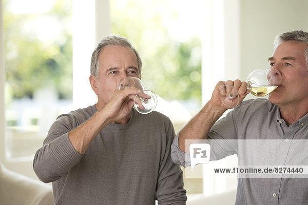 Ältere Männer trinken Wein