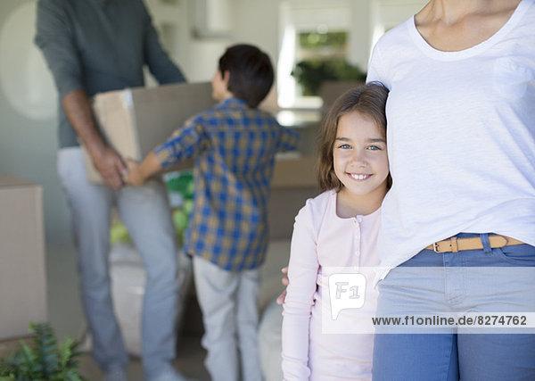 Umzug der Familie in ein neues Haus