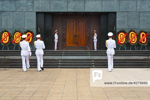 Change of the Guards at the Ho Chi Minh Mausoleum in Hanoi  Vietnam