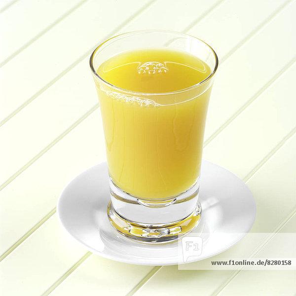 Glas  Saft  Untertasse  Mango