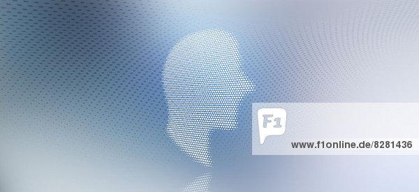 Grafik eines Mannes im Profil vor einem gefleckten Gradientenhintergrund