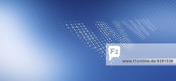 Verminderndes www-Zeichen aus Binärcode  vor verminderndem punktgemustertem Hintergrund