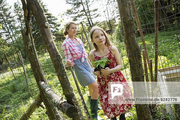 Eine Frau und ein Kind stehen vor dem offenen Tor einer eingezäunten Anlage. Ein Mädchen hält eine kleine Pflanze in einem Topf.