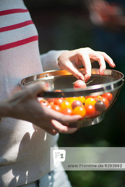 Woman holding sieve of tomatoes