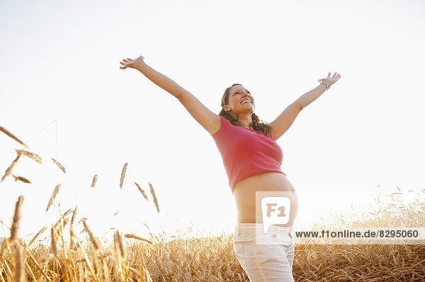 junge schwangere Frau  die im Maisfeld jubelt