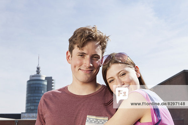 Germany  Bavaria  Munich  Smiling couple outdooors
