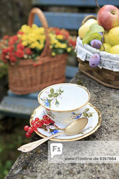 Deutschland  Bayern  Körbe mit frischen Früchten und Blumen und einer Teetasse