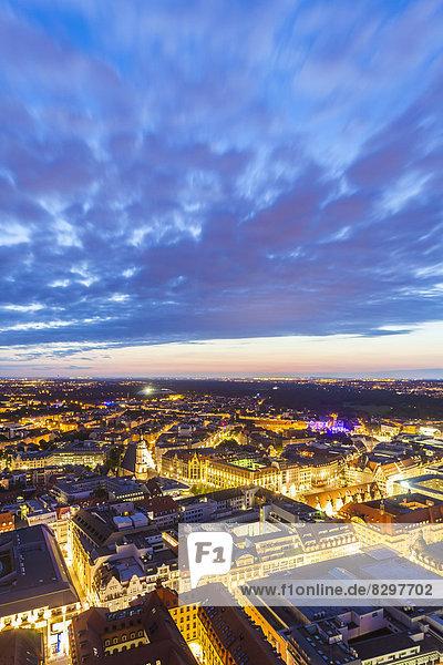 Germany  Saxony  Leipzig  City center at dusk