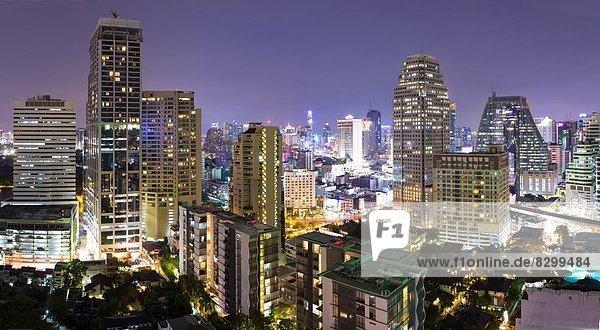 Bangkok  Hauptstadt  Panorama  Nacht  Hotel  Ansicht  Südostasien  Asien  Thailand