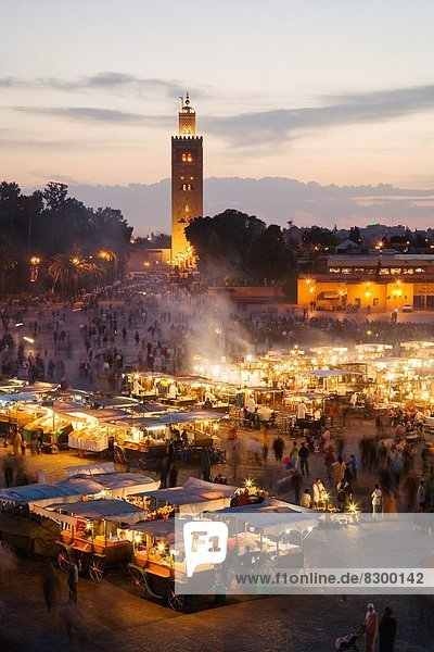 Elevated view of the Koutoubia Mosque at dusk from Djemaa el-Fna  Marrakech  Morocco  North Africa  Africa