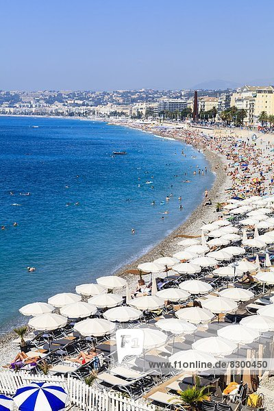 Baie des Anges and beach  Nice  Alpes Maritimes  Provence  Cote d'Azur  French Riviera  France  Mediterranean  Europe