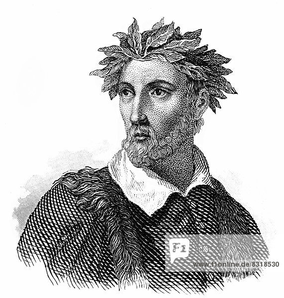 Portait of Torquato Tasso  1544 - 1595  Italian poet of the Counter-Reformation