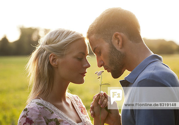 Young couple smelling at flower